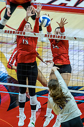 BLOOMINGTON, IL - October 23: Cassie Jordan  and Sarah Kushner  block a hit by Audrey Dennison during a college Women's volleyball match between the ISU Redbirds and the Drake Buldogs on October 23 2021 at Illinois State University in Normal, IL. (Photo by Alan Look)
