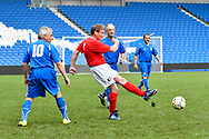 (Caption Correction) Peter Stacey of England over 60's shoots at goal during the world's first Walking Football International match between England and Italy at the American Express Community Stadium, Brighton and Hove, England on 13 May 2018. Picture by Graham Hunt.