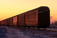 A cargo train slides through the prairie landscape at Sunrise...©2009, Sean Phillips.http://www.Sean-Phillips.com