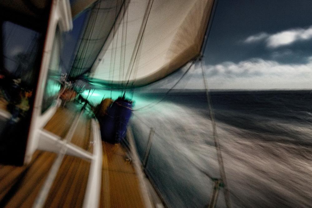 Sailing through the night in the Atlantic Ocean