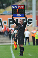 Added time during the EFL Sky Bet League 1 match between Accrington Stanley and Scunthorpe United at the Fraser Eagle Stadium, Accrington, England on 1 September 2018.