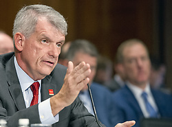 "October 3, 2017 - Washington, District of Columbia, United States of America - Timothy J. Sloan, Chief Executive Officer and President, Wells Fargo & Company, testifies before the United States Senate Committee on Banking, Housing, and Urban Affairs as they conduct a hearing entitled, ""Wells Fargo: One Year Later'' on Capitol Hill in Washington, DC on Tuesday, October 3, 2017. .Credit: Ron Sachs / CNP (Credit Image: © Ron Sachs/CNP via ZUMA Wire)"