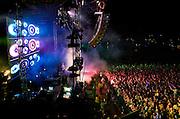 DJ Fatboy Slims headlines the Big Beach Boutiqe 4 on Brighton beach, United Kingdom.