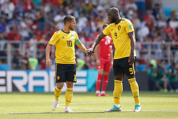 June 23, 2018 - Moscou, Rússia - MOSCOU, MO - 23.06.2018: BÉLGICA Y TÚNEZ - Belgium's Eden Hazard celebrates with Belgium&s Ru Lukaku aku after scoricoring a penalty kick during a Belgium-Tunisia match valid for the second round of Group G of the 2018 World Cup, held at the Otkrytie Arena in Moscow, Russia. (Credit Image: © Marcelo Machado De Melo/Fotoarena via ZUMA Press)