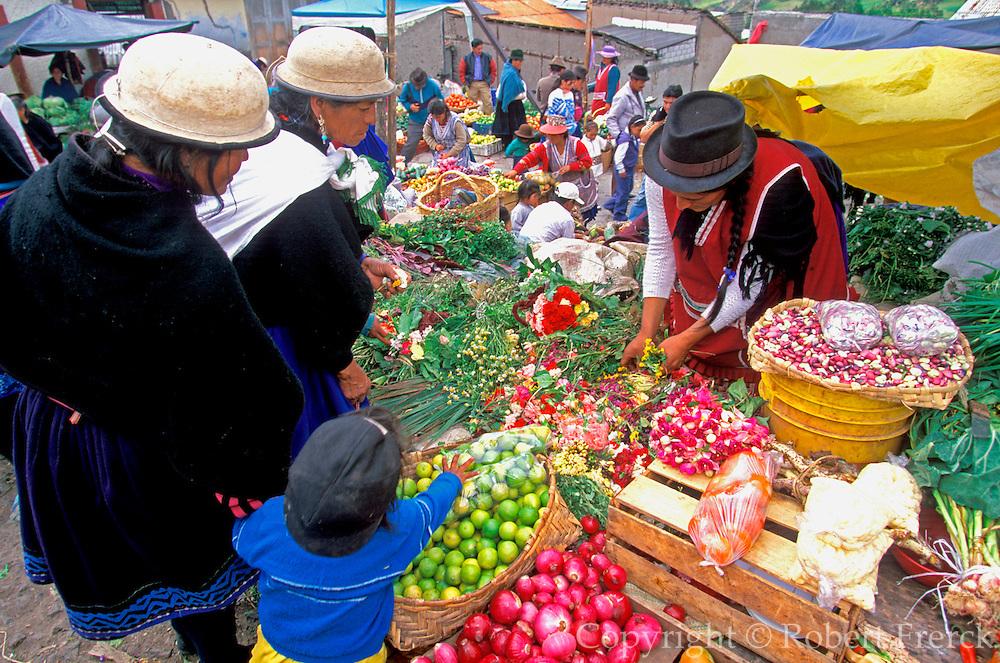 ECUADOR, HIGHLANDS, CANAR Canari Indians in produce market