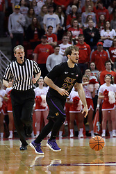 17 February 2018:  Randy Heimerman keeps an eye on ball handler Hunter Rhodes during a College mens basketball game between the University of Northern Iowa Panthers and Illinois State Redbirds in Redbird Arena, Normal IL
