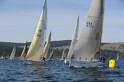 The Clyde Cruising Club's Scottish Series held on Loch Fyne by Tarbert. Day 2 racing in a perfect southerly.CYCA Class 5 Start with GBR9963 , First By Farr , Ian McNair , CCC , First 45F5, and GBR4770R , Lady Rhona , Iain Cameron , CCC/FYC , First 47.7