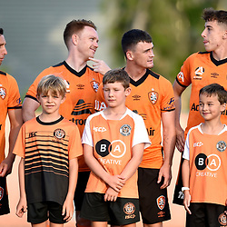 BRISBANE, AUSTRALIA - NOVEMBER 7: Brisbane Roar players enter the field during the friendly match between Eastern Suburbs FC and Brisbane Roar FC at Heath Park on November 7, 2020 in Brisbane, Australia. (Photo by Patrick Kearney)