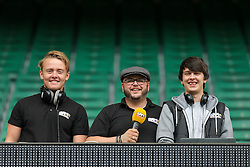 Ian 'Downsy' Downs and the Sam FM team - Rogan Thomson/JMP - 03/09/2016 - RUGBY UNION - Twickenham Stadium - London, England - Saracens v Worcester Warriors - Aviva Premiership London Double Header.