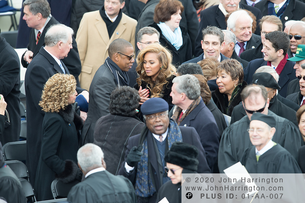 Jay-Z and Beyonce during the 57th Presidential Inauguration of President Barack Obama at the U.S. Capitol Building in Washington, DC January 21, 2013.