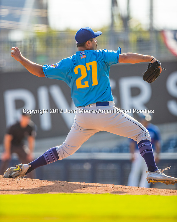 Amarillo Sod Poodles pitcher Travis Radke (27) pitches against the Tulsa Drillers during the Texas League Championship on Sunday, Sept. 15, 2019, at OneOK Field in Tulsa, Oklahoma. [Photo by John Moore/Amarillo Sod Poodles]