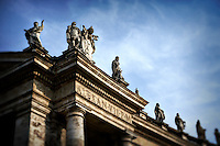 Statues on top of the Piazza San Pietro at St. Peter's Square in Vatican City, Italy