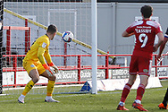 2-1, GOAL scored by Jon Russell of Accrington Stanley  (not pictured) during the EFL Sky Bet League 1 match between Accrington Stanley and Rochdale at the Fraser Eagle Stadium, Accrington, England on 10 October 2020.