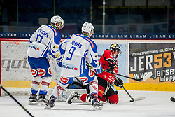 29.01.2017, Ice Rink, Znojmo, CZE, EBEL, HC Orli Znojmo vs EC VSV, Qualifikationsrunde, im Bild v.l. Markus Schlacher (EC VSV) Dustin Johner (EC VSV) Lukas Herzog (EC VSV) David Bartos (HC Orli Znojmo) // during the Erste Bank Icehockey League qualification round match between HC Orli Znojmo and EC VSV at the Ice Rink in Znojmo, Czech Republic on 2017/01/29. EXPA Pictures © 2017, PhotoCredit: EXPA/ Rostislav Pfeffer