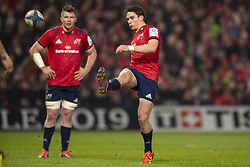 January 19, 2019 - Limerick, Ireland - Joey Carbery of Munster kicks the ball during the Heineken Champions Cup match between Munster Rugby and Exeter Chiefs at Thomond Park in Limerick, Ireland on January 19, 2019  (Credit Image: © Andrew Surma/NurPhoto via ZUMA Press)