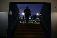 a spectator walks to his seat. Guinness Pro14 rugby match, Cardiff Blues v Dragons at the Cardiff Arms Park in Cardiff, South Wales on Friday 6th October 2017.<br /> pic by Andrew Orchard, Andrew Orchard sports photography.