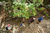 Hikers on the Appalachian Trail near Roanoke, Virginia, and Mcafee Knob.
