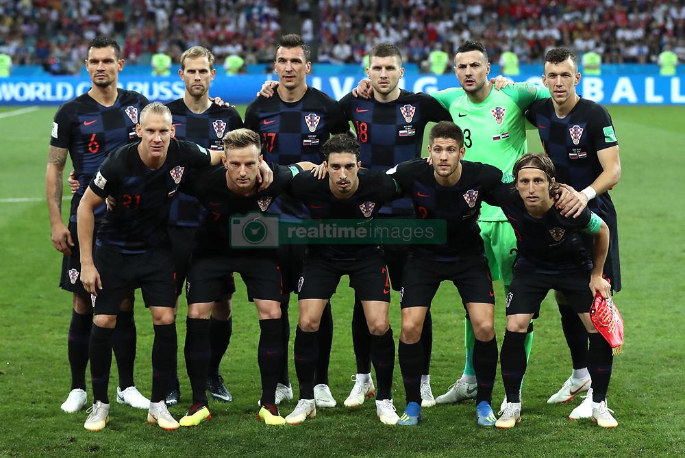 SOCHI, July 7, 2018  Players of Croatia pose for a group photo prior to the 2018 FIFA World Cup quarter-final match between Russia and Croatia in Sochi, Russia, July 7, 2018. (Credit Image: © Xu Zijian/Xinhua via ZUMA Wire)