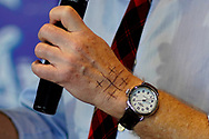 Democratic 2020 U.S. presidential candidate and billionaire activist Tom Steyer speaks at a town hall meeting in Ankeny, Iowa U.S. January 28, 2020. Steyer has written four crosses on his hand to remind him to stay true to his values, according to his staff.     REUTERS/Rick Wilking