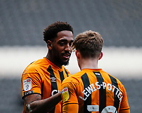 Hull City's Keane Lewis-Potter celebrates with Mallik Wilks after he scores his side's second goal in the 71st minute to make it 2-0 <br /> <br /> Photographer Lee Parker/CameraSport<br /> <br /> The EFL Sky Bet League One - Hull City v Oxford United - Saturday 13th March 2021 - KCOM Stadium - Kingston upon Hull<br /> <br /> World Copyright © 2021 CameraSport. All rights reserved. 43 Linden Ave. Countesthorpe. Leicester. England. LE8 5PG - Tel: +44 (0) 116 277 4147 - admin@camerasport.com - www.camerasport.com