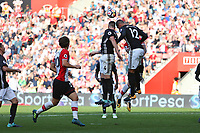 Football - 2017 / 2018 Premier League - Southampton vs. Manchester United<br /> <br /> Chris Smalling of Manchester United heads the back of team mate Phil Jones head to cause the defender to go down injured at St Mary's Stadium Southampton<br /> <br /> COLORSPORT/SHAUN BOGGUST