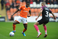 Blackpool's Sullay Kaikai under pressure from Peterborough United's Dan Butler<br /> <br /> Photographer Kevin Barnes/CameraSport<br /> <br /> The EFL Sky Bet Championship - Blackpool v Peterborough United - Saturday 2nd November 2019 - Bloomfield Road - Blackpool<br /> <br /> World Copyright © 2019 CameraSport. All rights reserved. 43 Linden Ave. Countesthorpe. Leicester. England. LE8 5PG - Tel: +44 (0) 116 277 4147 - admin@camerasport.com - www.camerasport.com