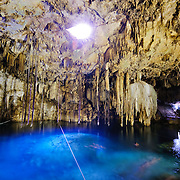 The natural limestone cave at Cenote Xkakah at Dzitnup, near Valladolid, Yucatan, Mexico.