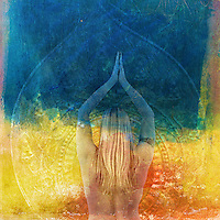 Female immersed in a mandala of color. Photo based illustration.
