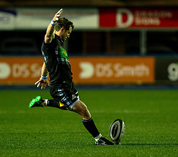 Peter Horne of Glasgow Warriors kicks a penalty<br /> <br /> Photographer Simon King/Replay Images<br /> <br /> Guinness PRO14 Round 15 - Cardiff Blues v Glasgow Warriors - Saturday 16th February 2019 - Cardiff Arms Park - Cardiff<br /> <br /> World Copyright © Replay Images . All rights reserved. info@replayimages.co.uk - http://replayimages.co.uk