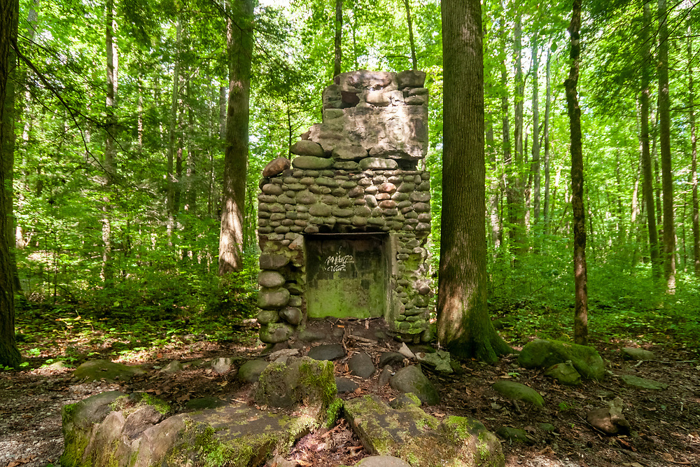 A stone chimney is all that remains of an early settler's home along the Sugarlands Valley Nature Trail in Great Smoky Mountains National Park in Gatlinburg, Tennessee on Thursday, August 13, 2020. Copyright 2020 Jason Barnette