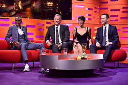 (left to right) Mo Farah, Tom Hanks, Gemma Arterton and Joseph Gordon-Levitt during filming of the Graham Norton Show at The London Studios, south London, to be aired on BBC One on Friday evening.