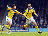 Photo. Chris Ratcliffe<br /> Digitalsport<br /> NORWAY ONLY<br /> <br /> Southend Utd v Torquay Utd. Nationwide Division 3. 08/05/2004<br /> David Graham turns to celebrate scoring torquay's second with Liam Rosenier