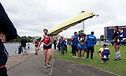 Glasgow, Scotland, Saturday, 4th  August 2018, NED LM4X, Carry their boat back to the Racks, at the, European Games, Rowing, Strathclyde Park, North Lanarkshire, © Peter SPURRIER/Alamy Live News
