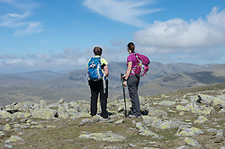 © London News Pictures. 23/05/15. Cumbria, UK. Walkers admire the view from the Old Man of Coniston, Cumbria. Photo credit: Laura Lean/LNP
