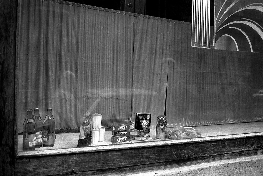 Shop windows displaying very little!<br /> St Petersburg, Russia 1994