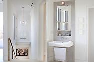 Martha's Vineyard house. Bathroom and stairs. Architect: Claudia Noury-Ello. Designer: Christine Lane Interiors