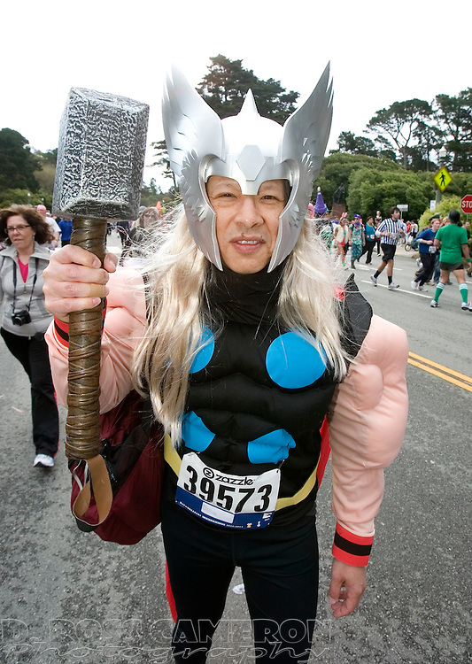 Forrest Gee of Emeryville, Calif. came to 100th running of the Bay to Breakers 12K dressed as Thor, Sunday, May 15, 2011 in San Francisco. (Photo by D. Ross Cameron)