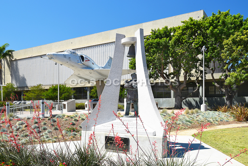 Firefighter Monument and Aircraft Display in Front of Hall of Records at Santa Ana Civic Center Plaza