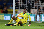 Jamal Blackman, the Sheffield Utd goalkeeper looks on. EFL Skybet championship match, Cardiff city v Sheffield Utd at the Cardiff City Stadium in Cardiff, South Wales on Tuesday 15th August 2017.<br /> pic by Andrew Orchard, Andrew Orchard sports photography.