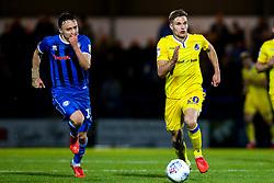 Gavin Reilly of Bristol Rovers goes past Ollie Rathbone of Rochdale - Mandatory by-line: Robbie Stephenson/JMP - 02/10/2018 - FOOTBALL - Crown Oil Arena - Rochdale, England - Rochdale v Bristol Rovers - Sky Bet League One