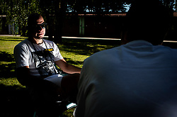 Rok Predanic, former Slovenian athlete and coach, interviewed by Rok Viskovic of Siol Sportal, on July 10, 2020 in ZAK, Ljubljana, Slovenia. Photo by Vid Ponikvar / Sportida
