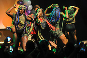 """WASHINGTON, DC - October 2nd, 2014 - Big Freedia (center, with mic) performs at the Howard Theatre in Washington, D.C.  Freedia is credited with bringing New Orleans """"bounce music"""" to the masses. His latest album, Just Be Free, was released in June. (Photo by Kyle Gustafson/For The Washington Post)"""