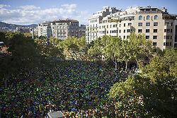 September 11, 2017 - Barcelona, Barcelona, Spain - Thousands of people have crossed the main streets of Barcelona asking for the ''Yes'' to the independence of Catalonia. The objective is a further sign towards the Catalan Republic. The act has been related to the referendum of next October 1, 2017, in Barcelona, Spain, Monday, September 11, 2017. (Credit Image: © VictòRia Rovira/NurPhoto via ZUMA Press)