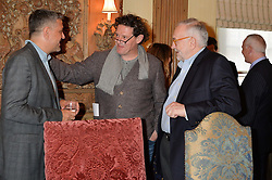 Left to right, GIORGI LOCATELLI, MARCO PIERRE WHITE and PIERRE KOFFMANN at a lunch hosted by Fortnum & Mason, Piccadilly, London on 29th January 2015 in honour of Marco Pierre White and the publication of White Heat 25.