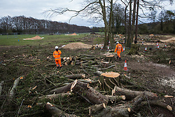 HS2 contractors monitor a site alongside the A413 where trees have recently been felled for the HS2 high-speed rail link on 9th April 2021 in Wendover, United Kingdom. Tree felling work for the project is now taking place at several locations between Great Missenden and Wendover in the Chilterns AONB, including at Jones Hill Wood.