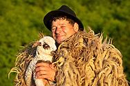 Shepherd and his sheep, Maramures, Romania