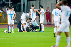 Injured during football match between HNK Rijeka and HNK Hajduk Split in 11th Round of Prva Hrvaska Nogometna Liga MaxTV 2013/14 on September 28, 2013 in Stadion Kantrida, Rijeka, Croatia. (Photo By Urban Urbanc / Sportida.com)