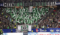 02.11.2013, Imtech Arena, Hamburg, GER, 1. FBL, Hamburger SV vs Borussia Moenchengladbach, 11. Runde, im Bild Gladbacher Fankurve // during the German Bundesliga 11th round match between Hamburger SV and Borussia Moenchengladbach at the Imtech Arena in Hamburg, Germany on 2013/11/02. EXPA Pictures © 2013, PhotoCredit: EXPA/ Eibner-Pressefoto/ Latendorf<br /> <br /> *****ATTENTION - OUT of GER*****