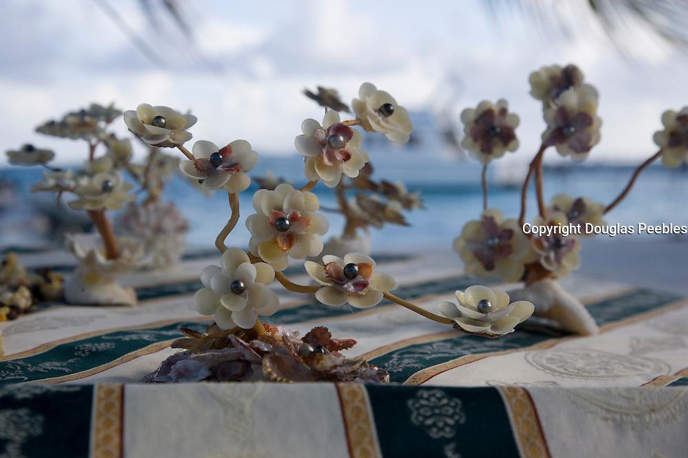 Balck pearl flower sculpture, Takaroa, Tuamotu Islands, French Polynesia<br />