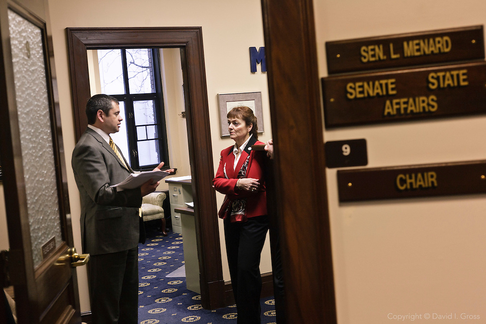 Alaska Representative Chris Tuck (D) pitches his bill (HB69) to Senator Linda Menard (R).